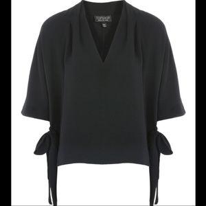 Topshop Side Tie V-Neck Blouse Black Size 10